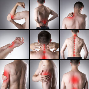Pain in a man's body on a gray background. Collage of several photos with red dots